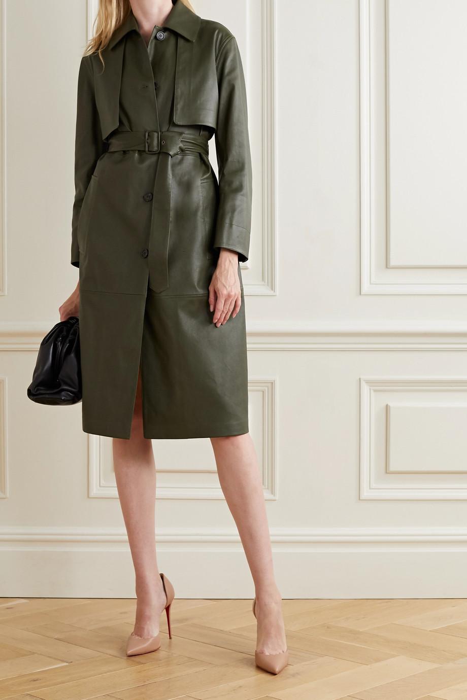Salvatore Ferragamo Paneled leather trench coat
