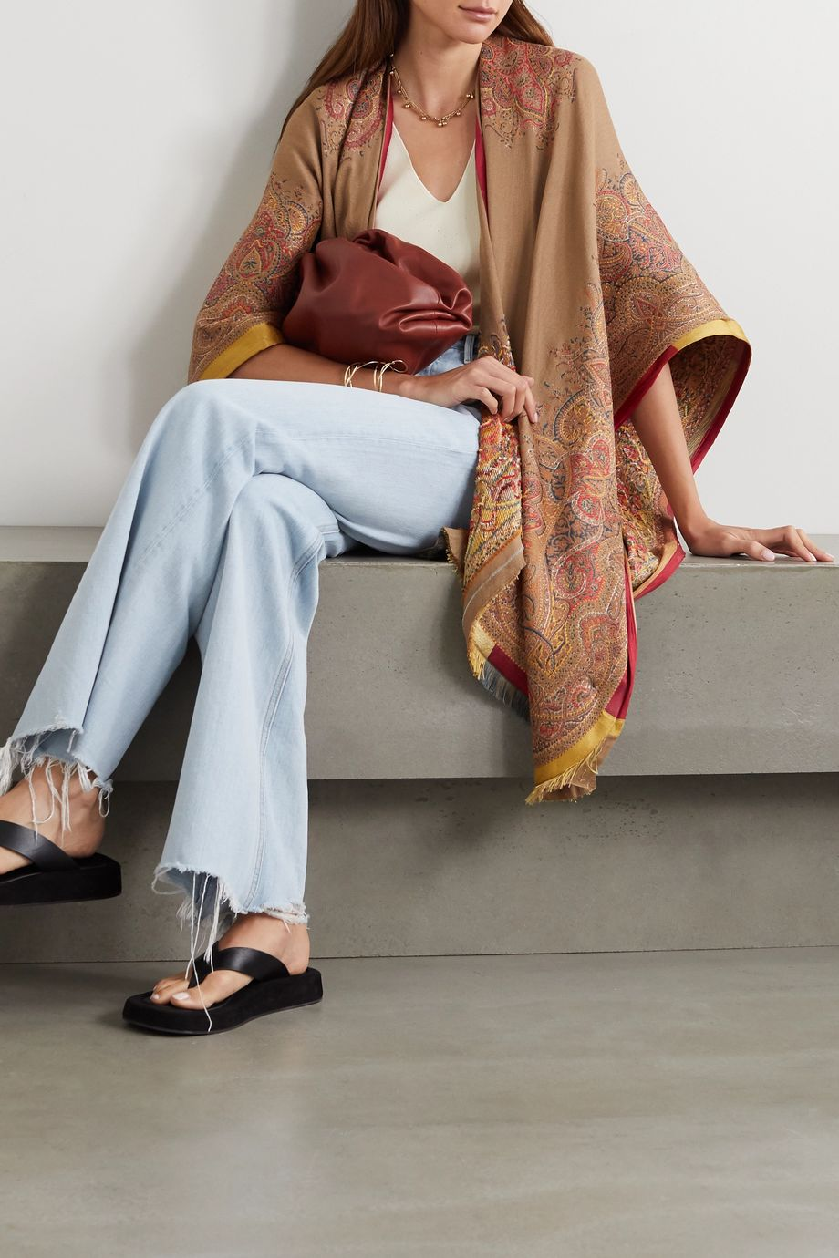 Etro Satin-trimmed embroidered wool-blend jacquard wrap
