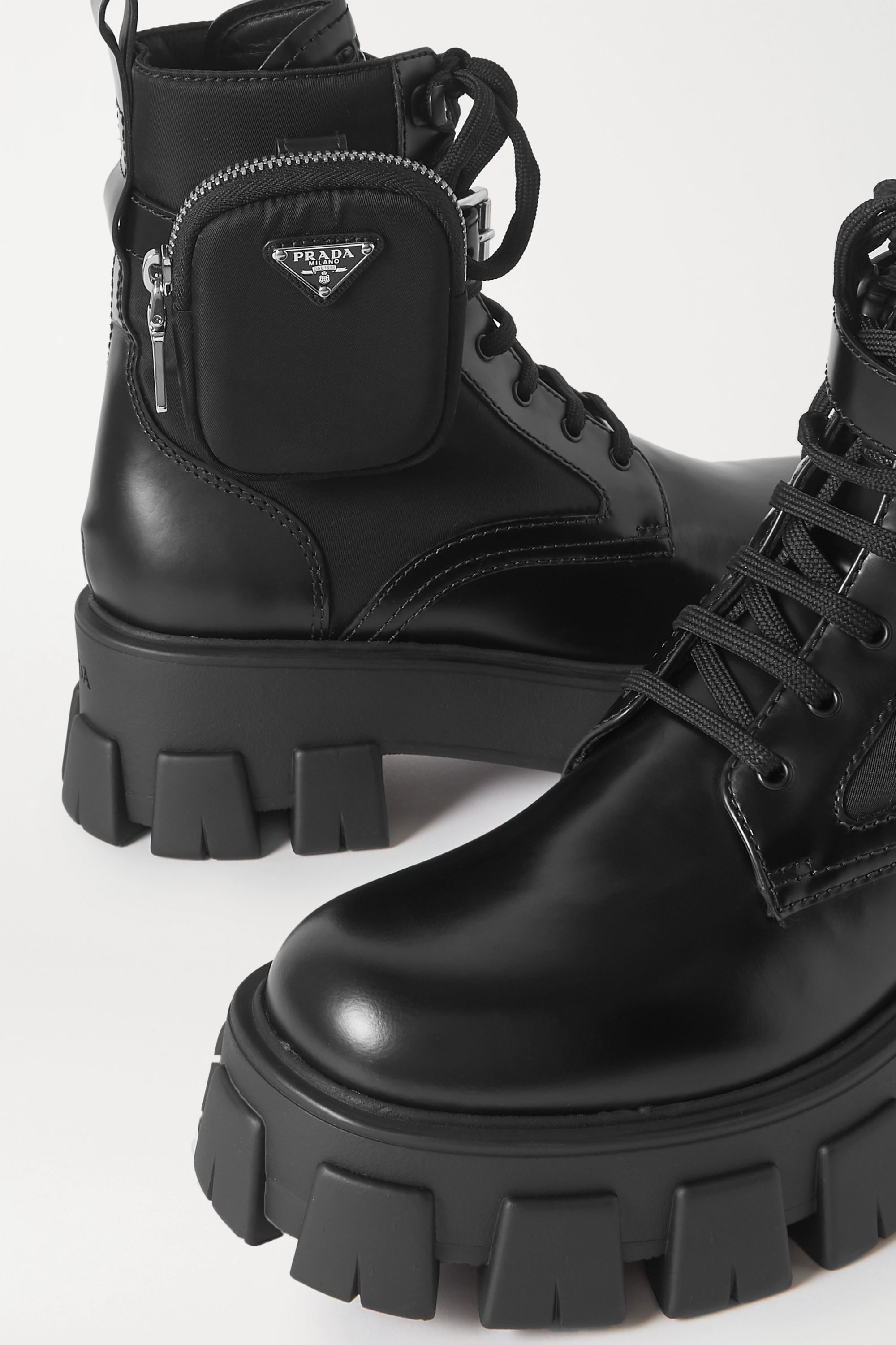 Prada Monolith leather and nylon ankle boots