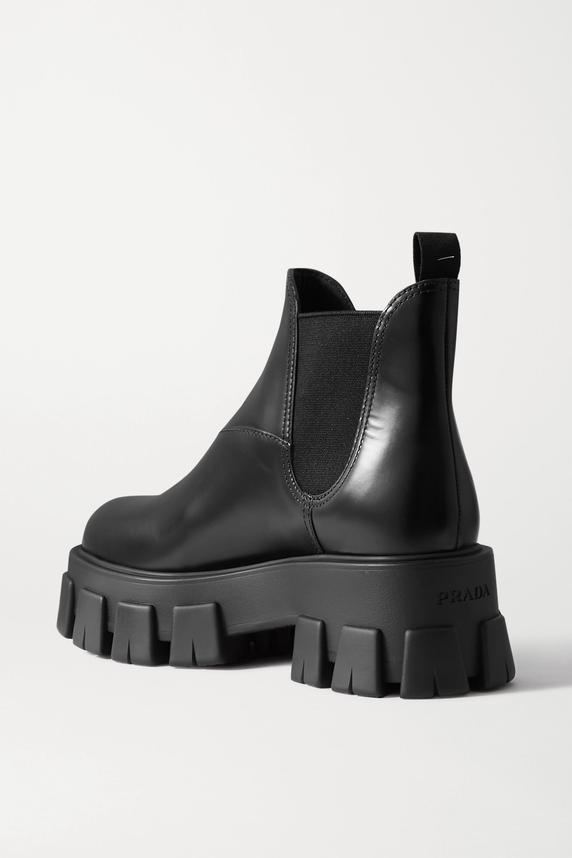 Black 60 Glossed-leather Platform Chelsea Boots | Prada