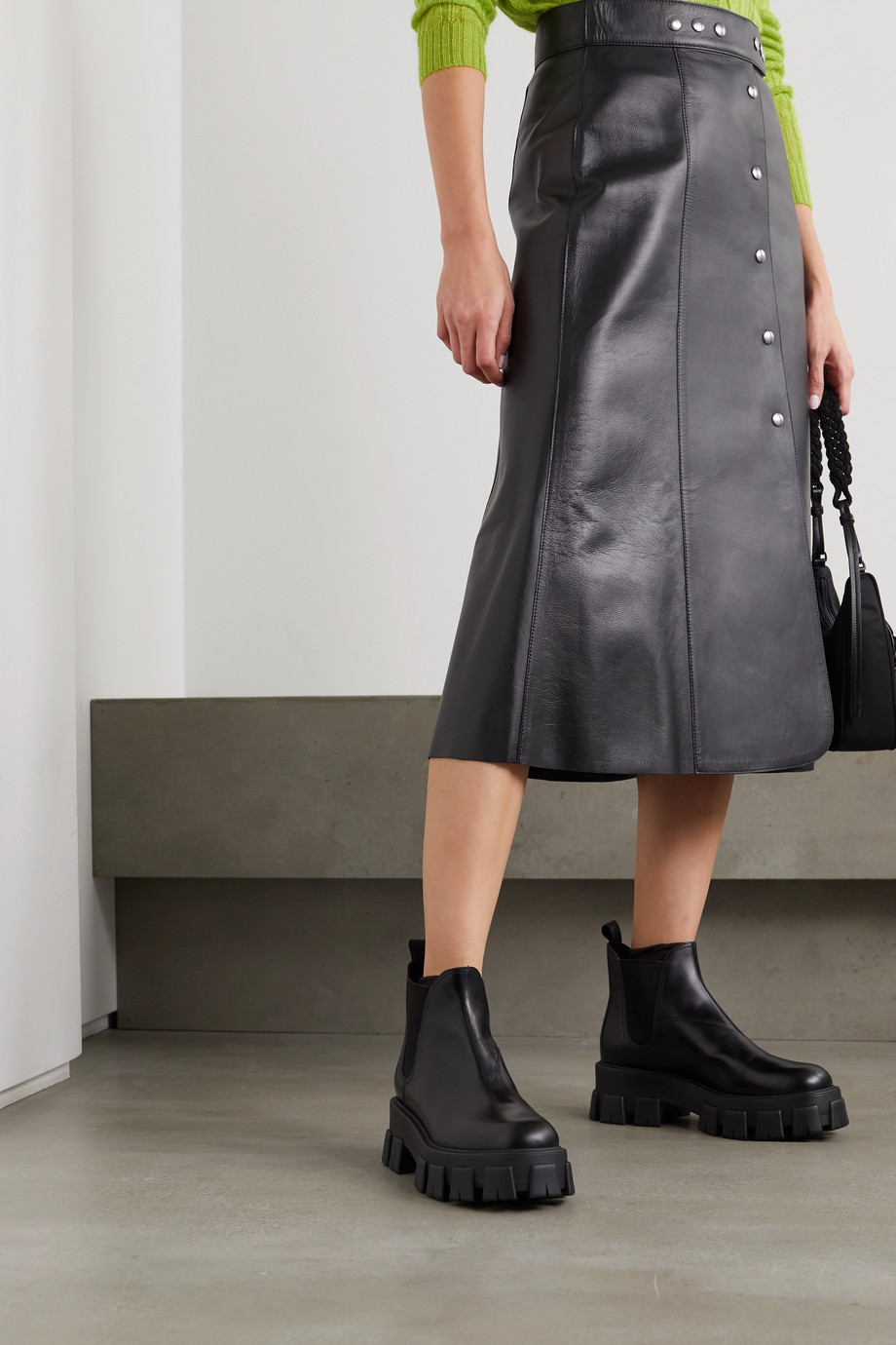 Prada 60 glossed-leather platform Chelsea boots