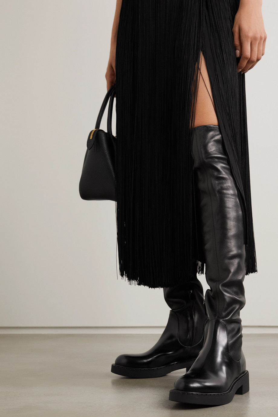Prada 50 smooth and glossed-leather knee boots