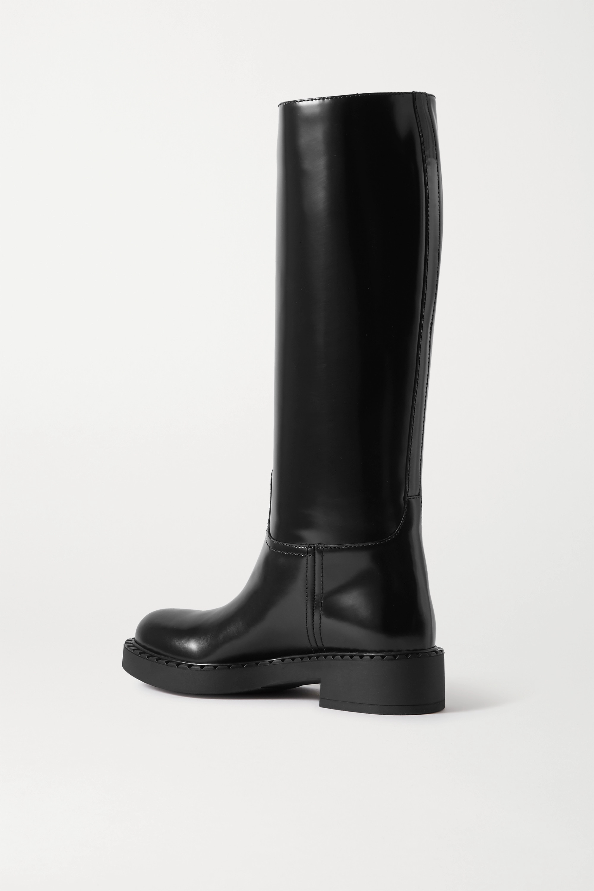 Black 50 Glossed-leather Knee Boots | Prada