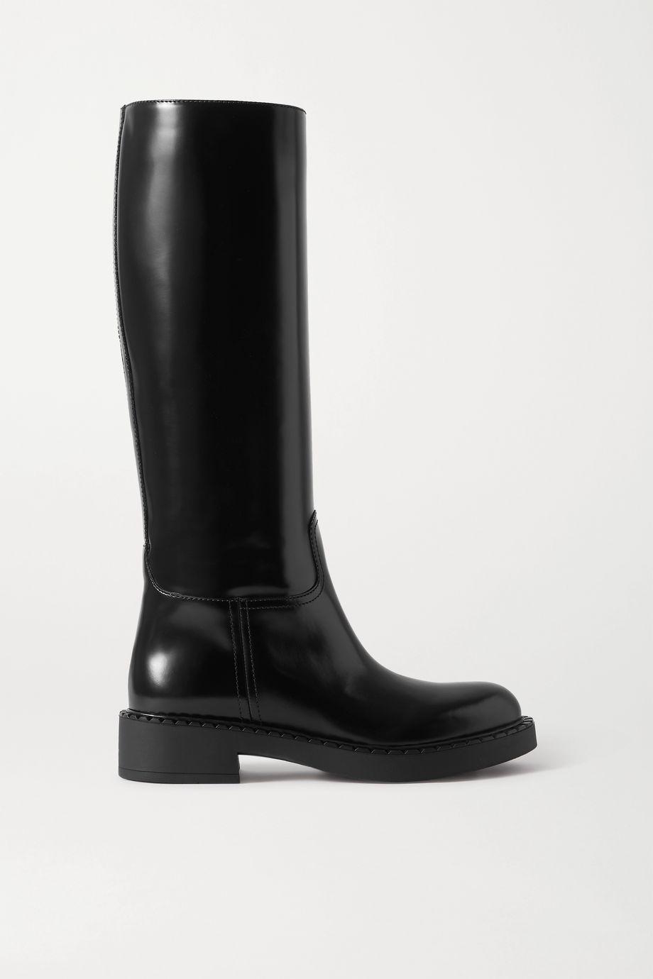 Prada 50 glossed-leather knee boots