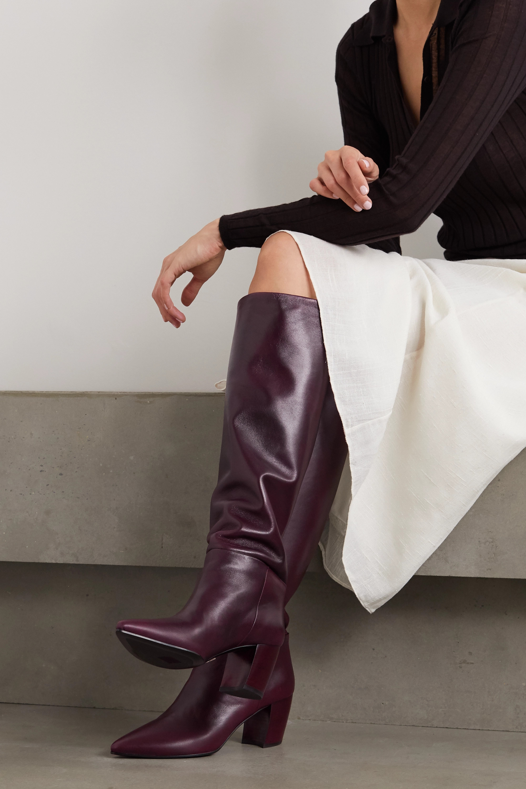 Burgundy Knee Boots | Shop the world's