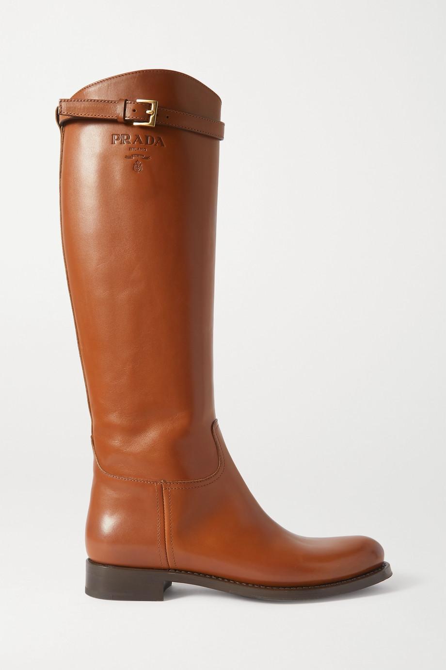 Prada 30 logo-embossed leather knee boots