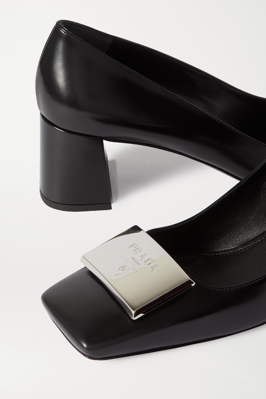 Prada 55 logo-embellished glossed-leather pumps
