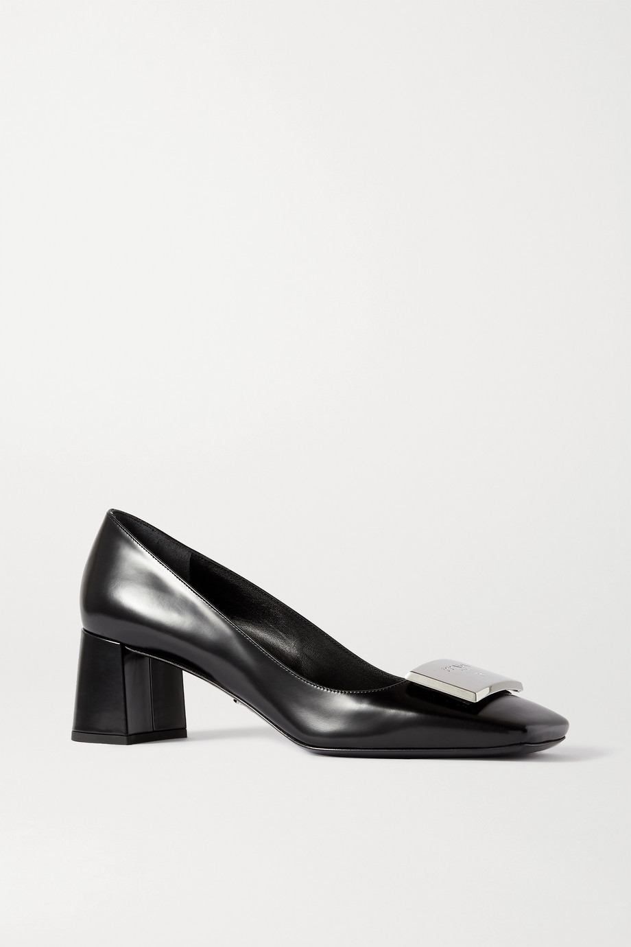 Prada 55 logo-embellished glossed-leather pumps