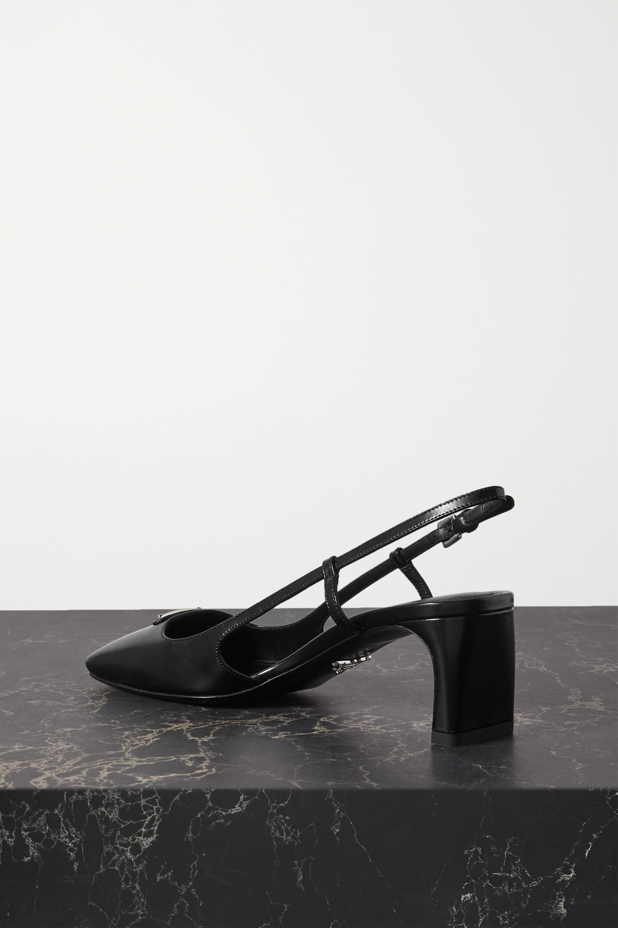 Prada 55 logo-embellished leather slingback pumps