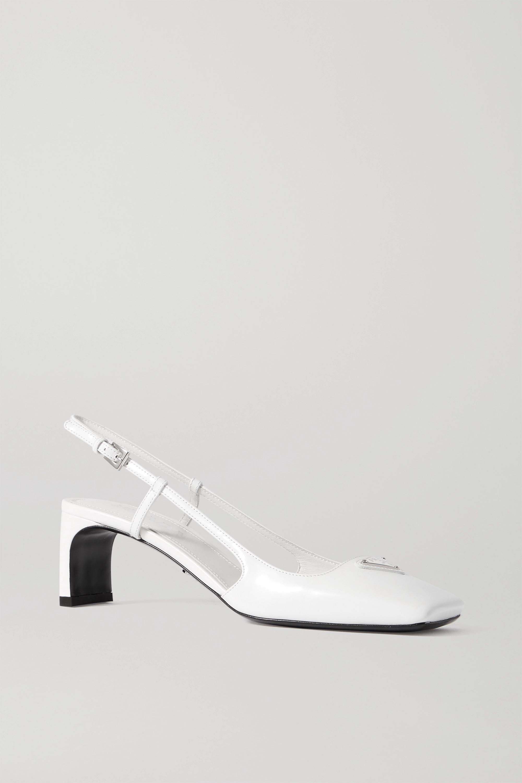 Prada 55 logo-embellished leather slingback pumps