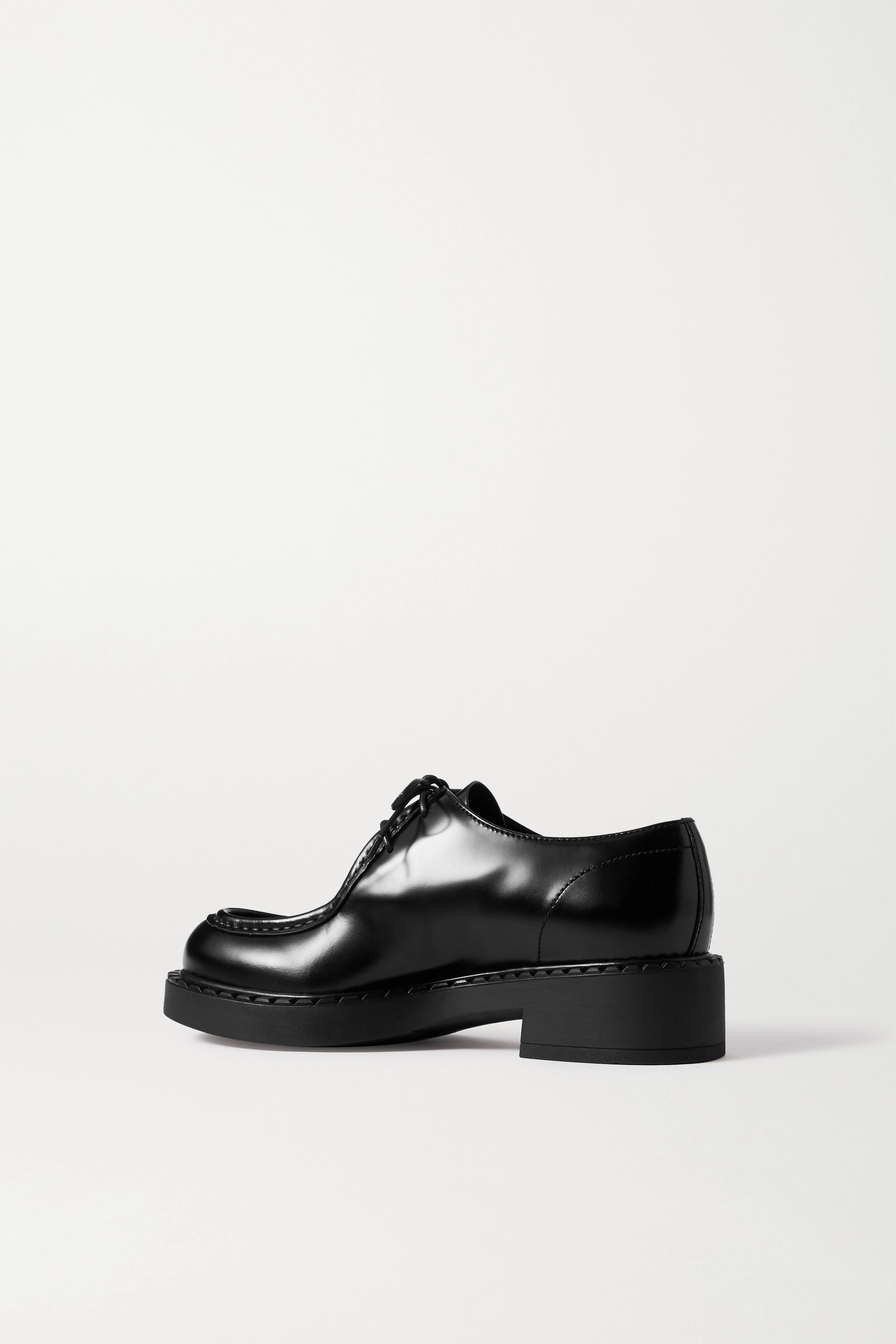 Prada 50 glossed-leather brogues
