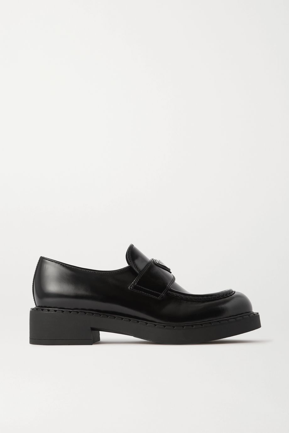 Prada Logo-embellished glossed-leather loafers