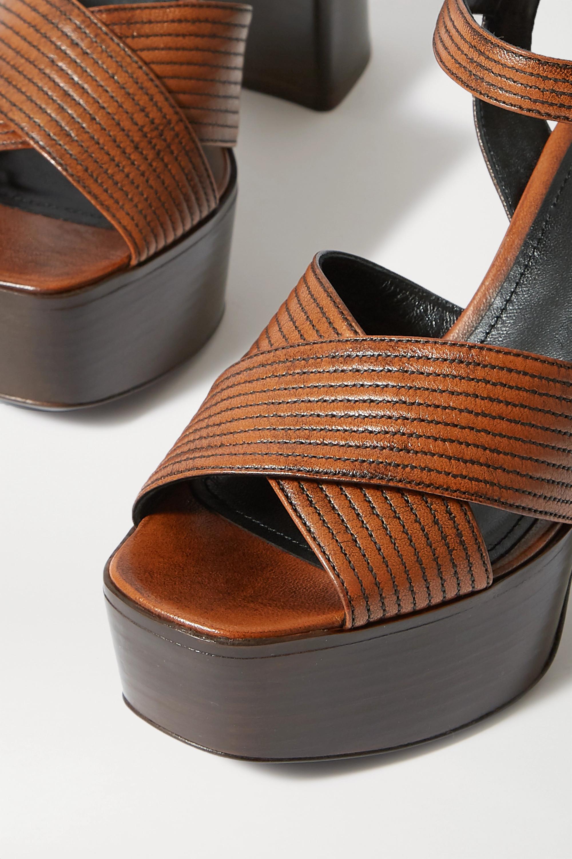 Prada Sandales plates-formes en cuir 105