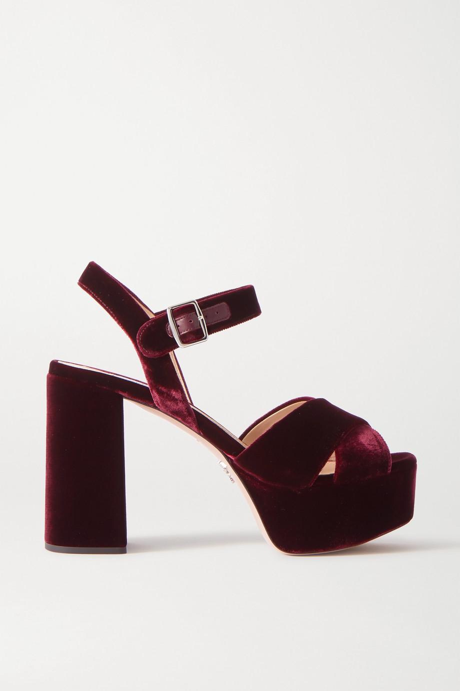 Prada Sandales plates-formes en velours