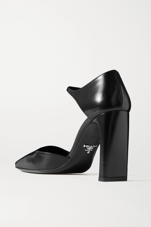 Black 95 Glossed-leather Pumps   Prada
