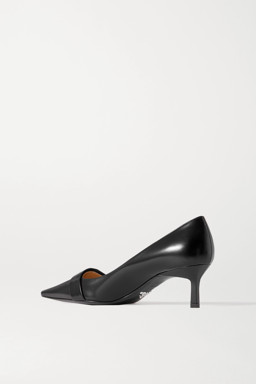 Black 55 Logo-embellished Glossed-leather Pumps | Prada