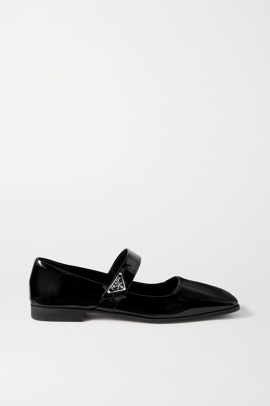 Prada Logo-embellished patent-leather ballet flats
