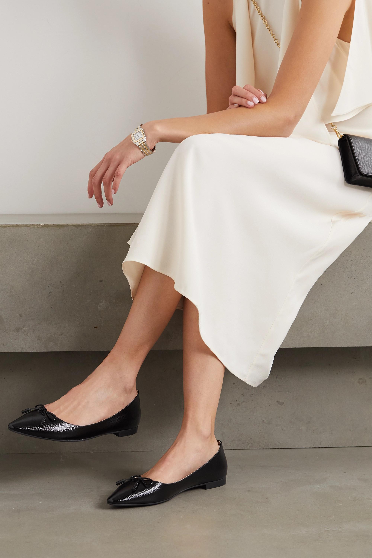 Prada 15 glossed textured-leather ballet flats