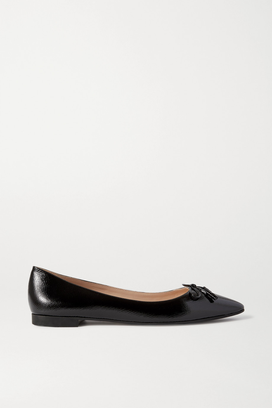 Prada 15 glossed textured-leather ballet flats