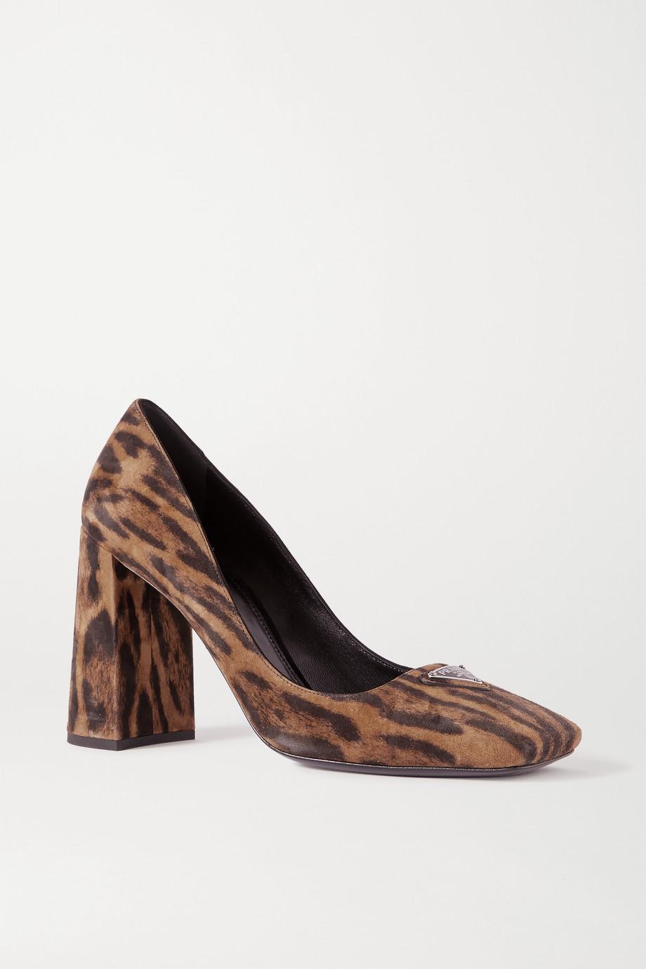 Prada 95 logo-embellished leopard-print suede pumps