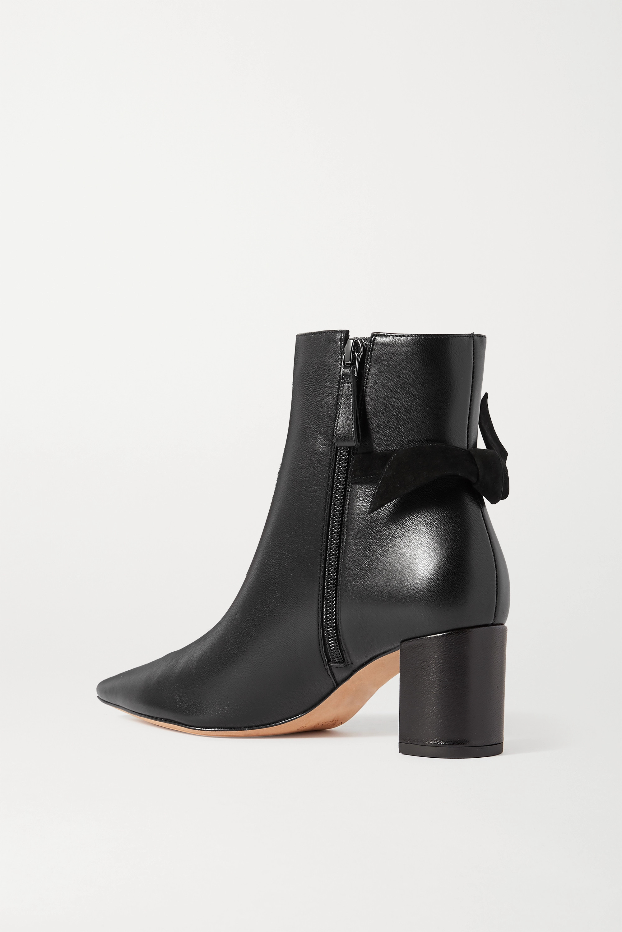 Alexandre Birman Clarita bow-embellished suede-trimmed leather ankle boots