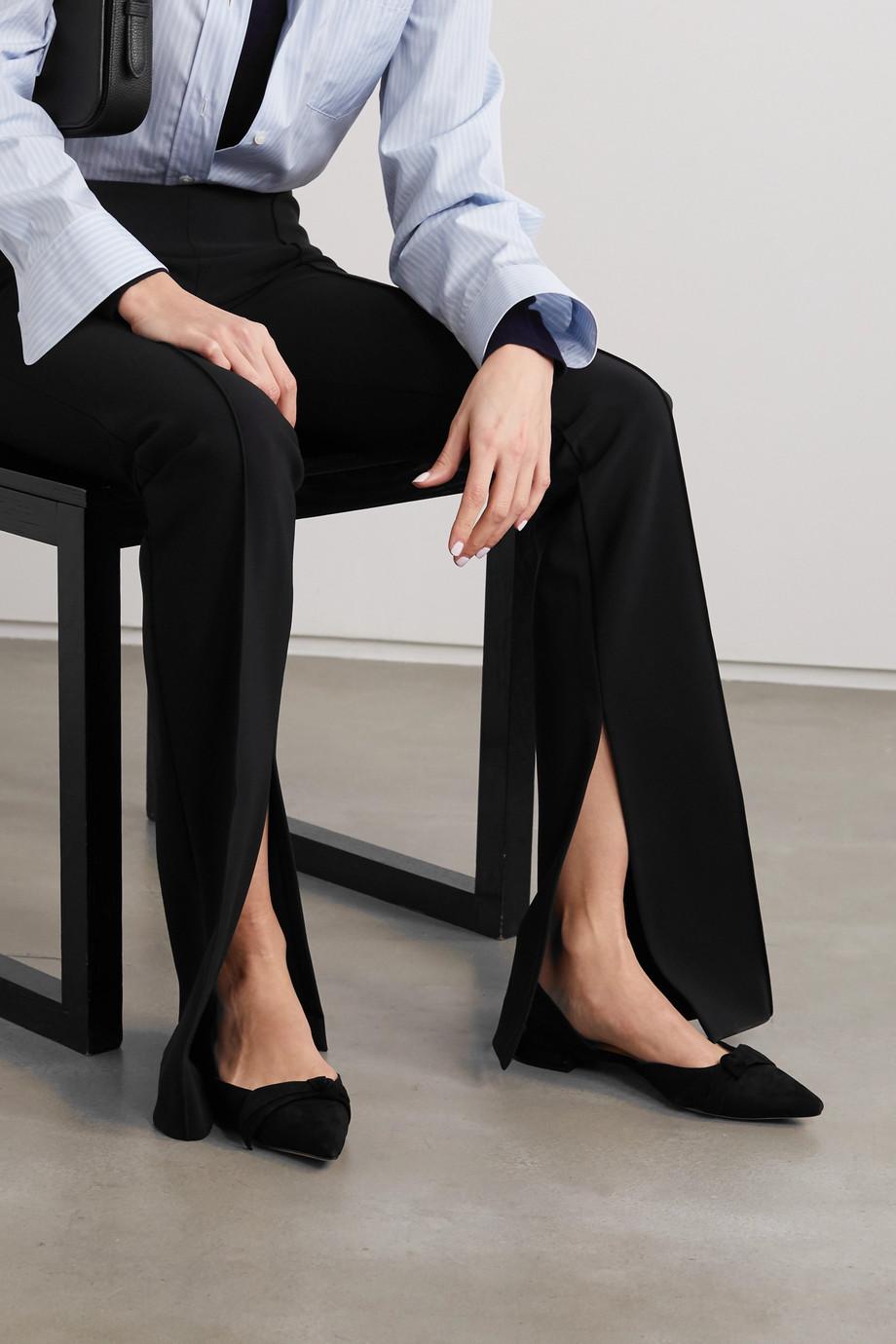 Alexandre Birman Ingrid bow-embellished suede point-toe flats