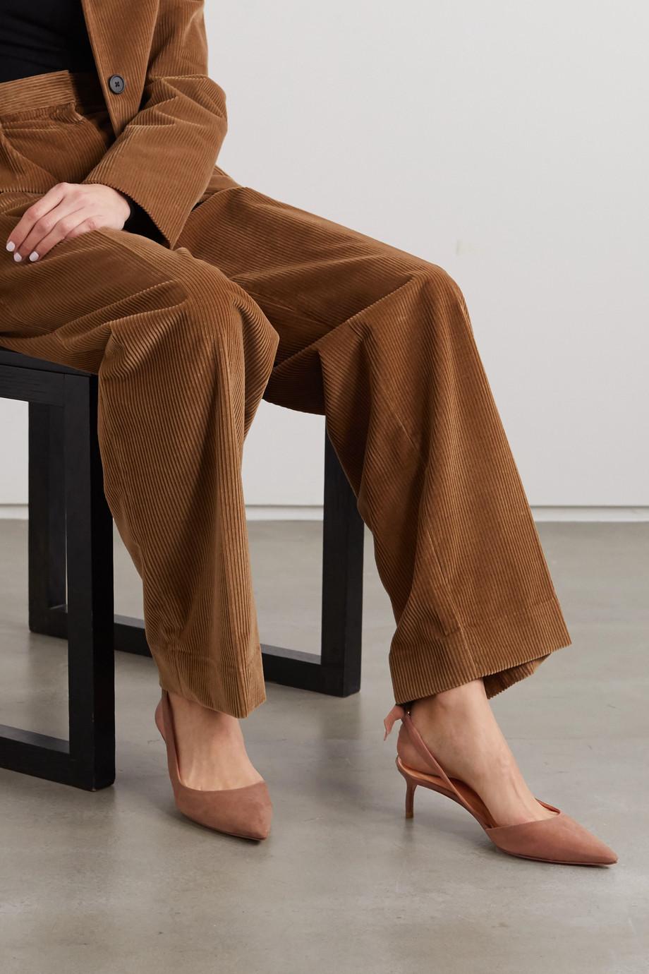Alexandre Birman Clarita bow-embellished suede slingback pumps