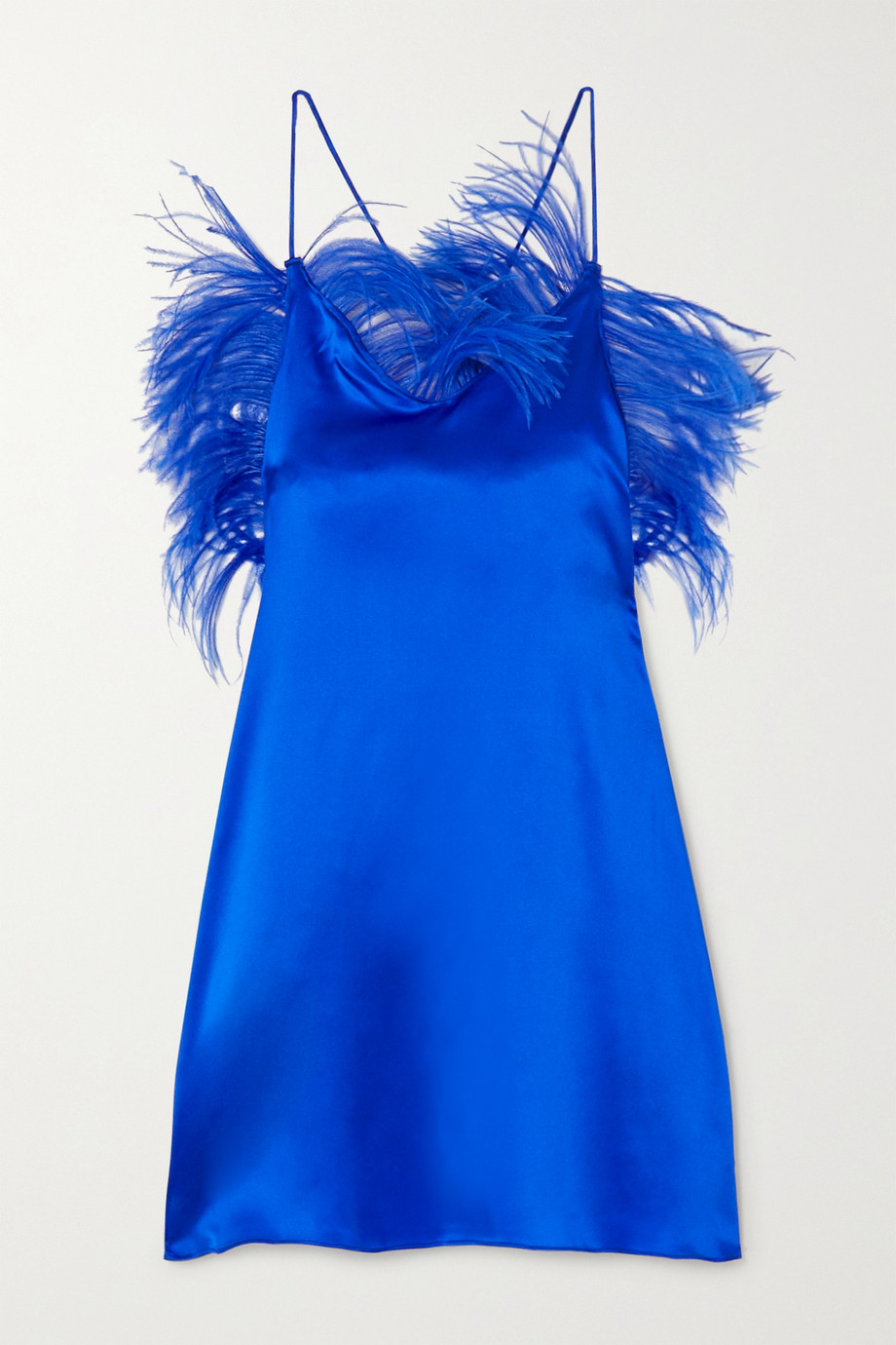 ioannes Feather-embellished silk-blend satin mini dress