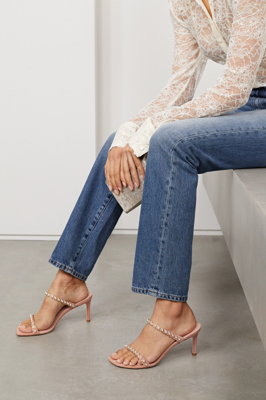 Stuart Weitzman Aleena faux pearl-embellished suede mules