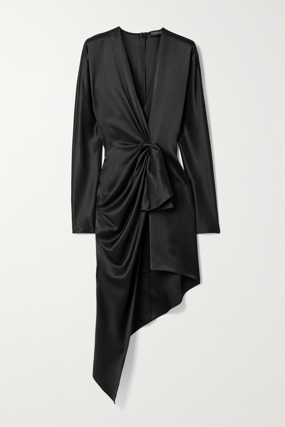 Cushnie Asymmetric twist-front silk-satin dress