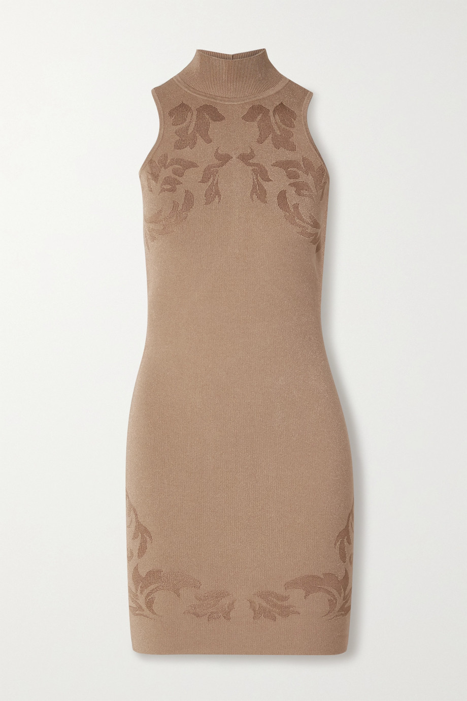 Cushnie Cutout floral jacquard-knit mini dress