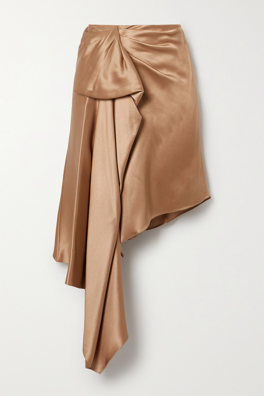 Cushnie Asymmetric draped silk-charmeuse skirt