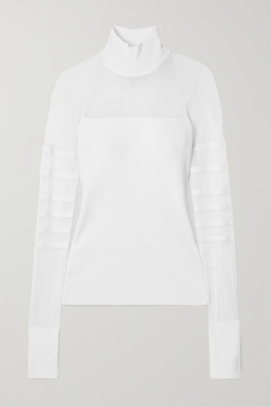 Cushnie Paneled ribbed-knit turtleneck top