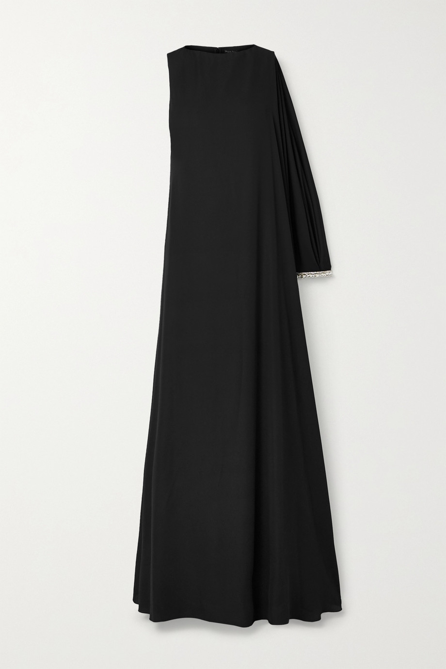 Reem Acra Asymmetric crystal-embellished crepe gown