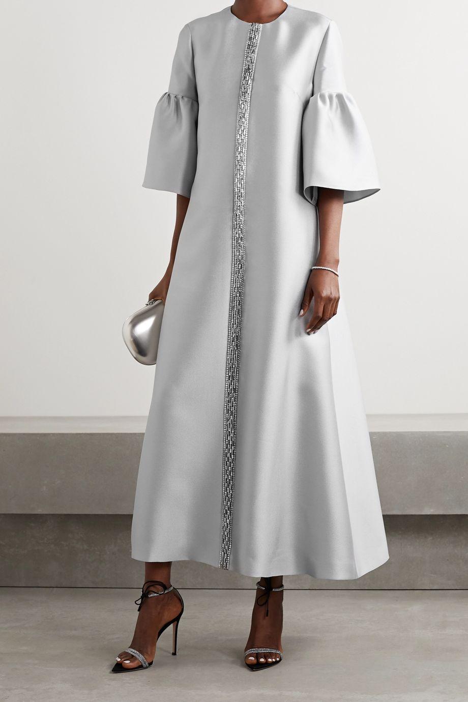Reem Acra Robe aus glänzendem Piqué mit Verzierungen