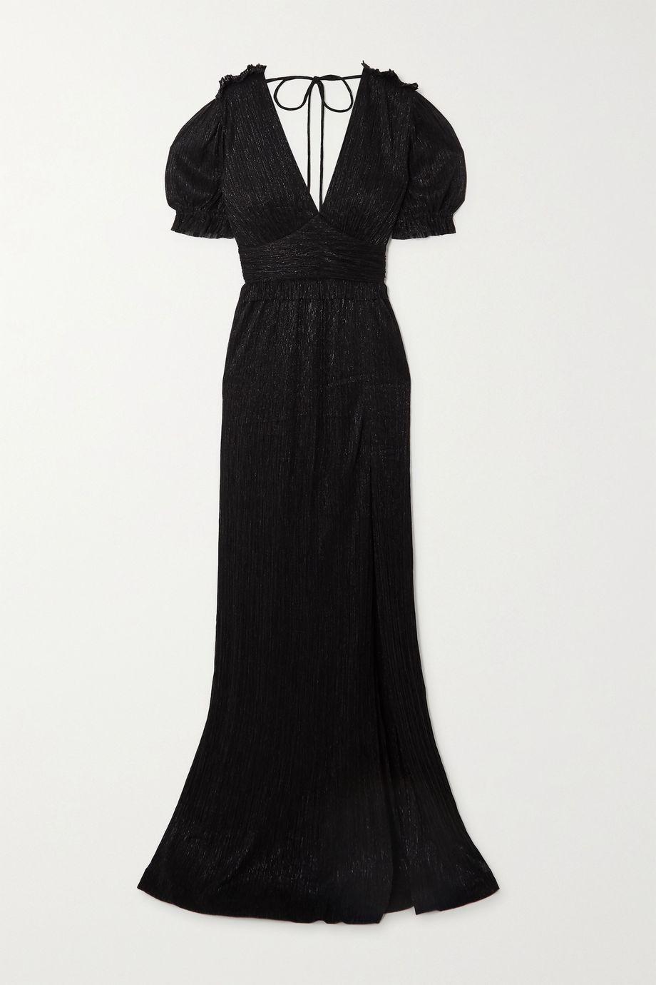 Rebecca Vallance Luna open-back metallic plissé-chiffon gown