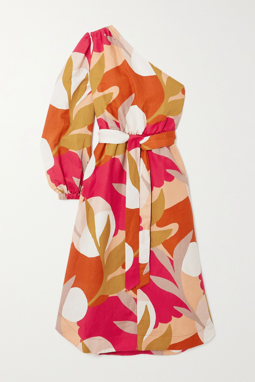 Rebecca Vallance Sangria Midikleid aus einer bedruckten Leinenmischung mit asymmetrischer Schulterpartie und Bindegürtel