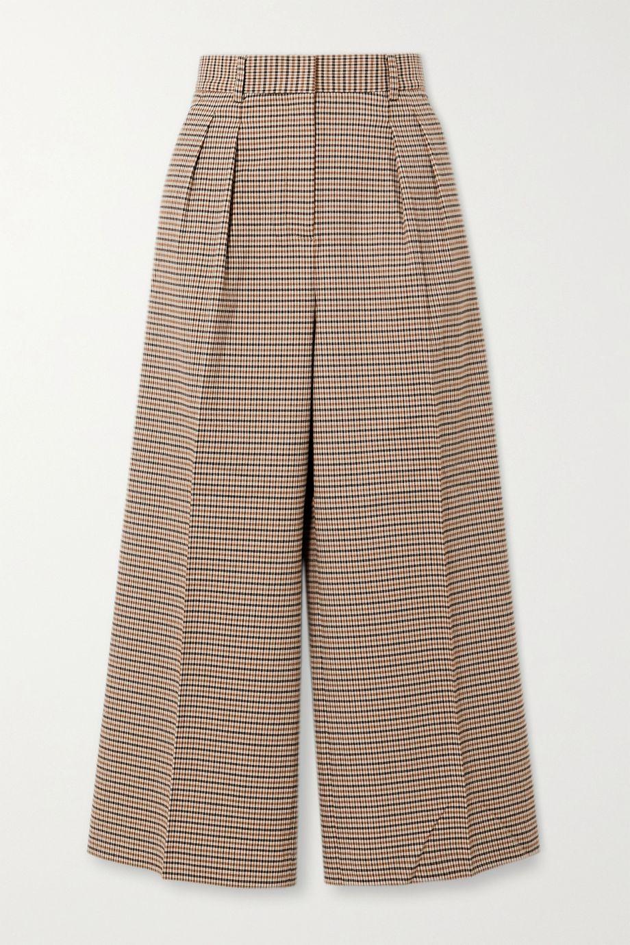 Rebecca Vallance Cocoa checked woven wide-leg pants