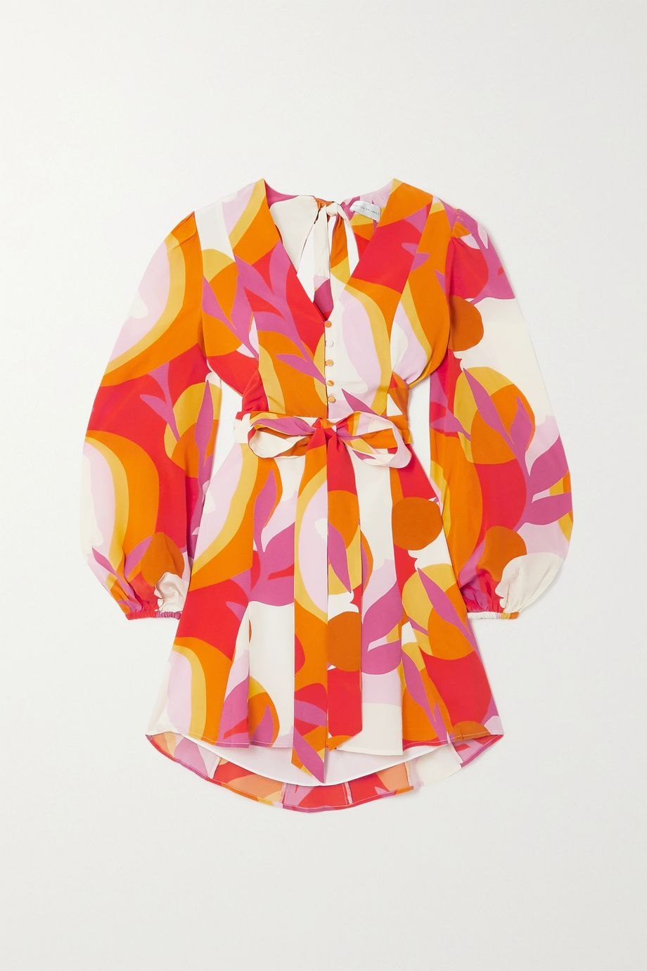 Rebecca Vallance Paradise open-back belted printed silk mini dress