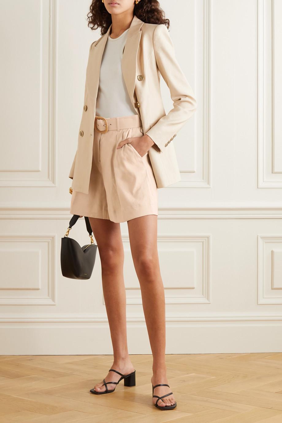 Rebecca Vallance Mojito belted linen-blend shorts