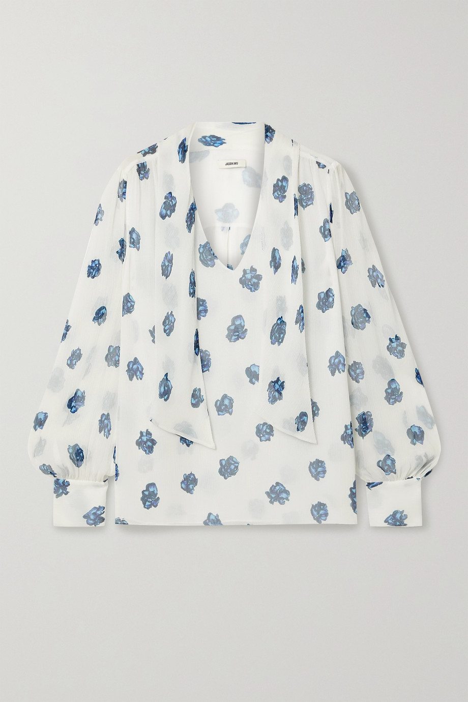 Jason Wu Tie-neck floral-print silk-crepon blouse