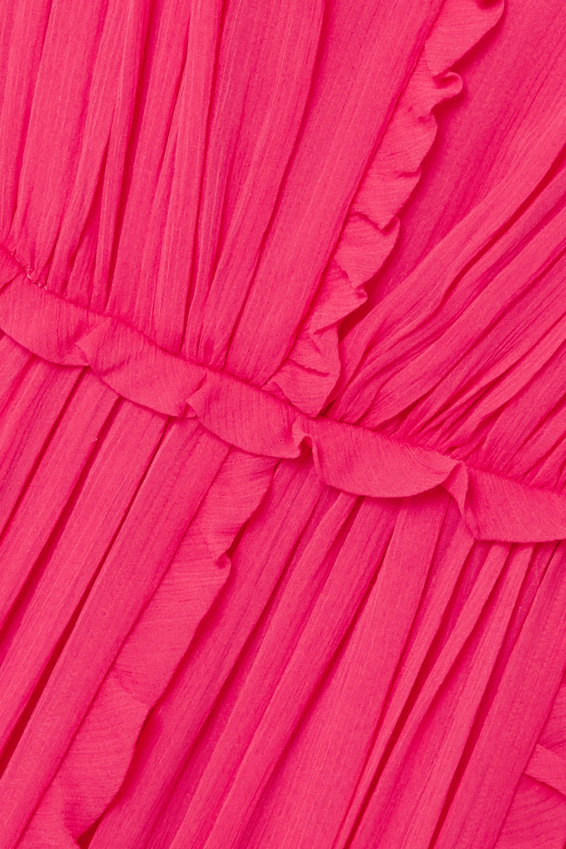 Bright Pink Ruffled Silk-crepon Midi Dress | Jason Wu