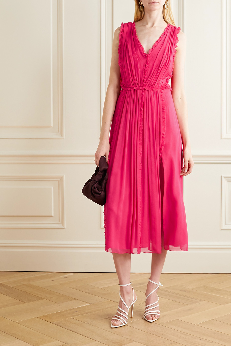 Jason Wu Ruffled silk-crepon midi dress