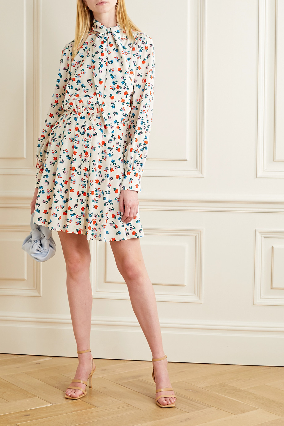 Jason Wu Tie-neck floral-print silk crepe de chine mini dress