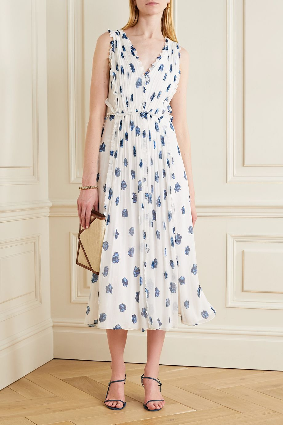 Jason Wu Ruffled floral-print silk-crepon midi dress