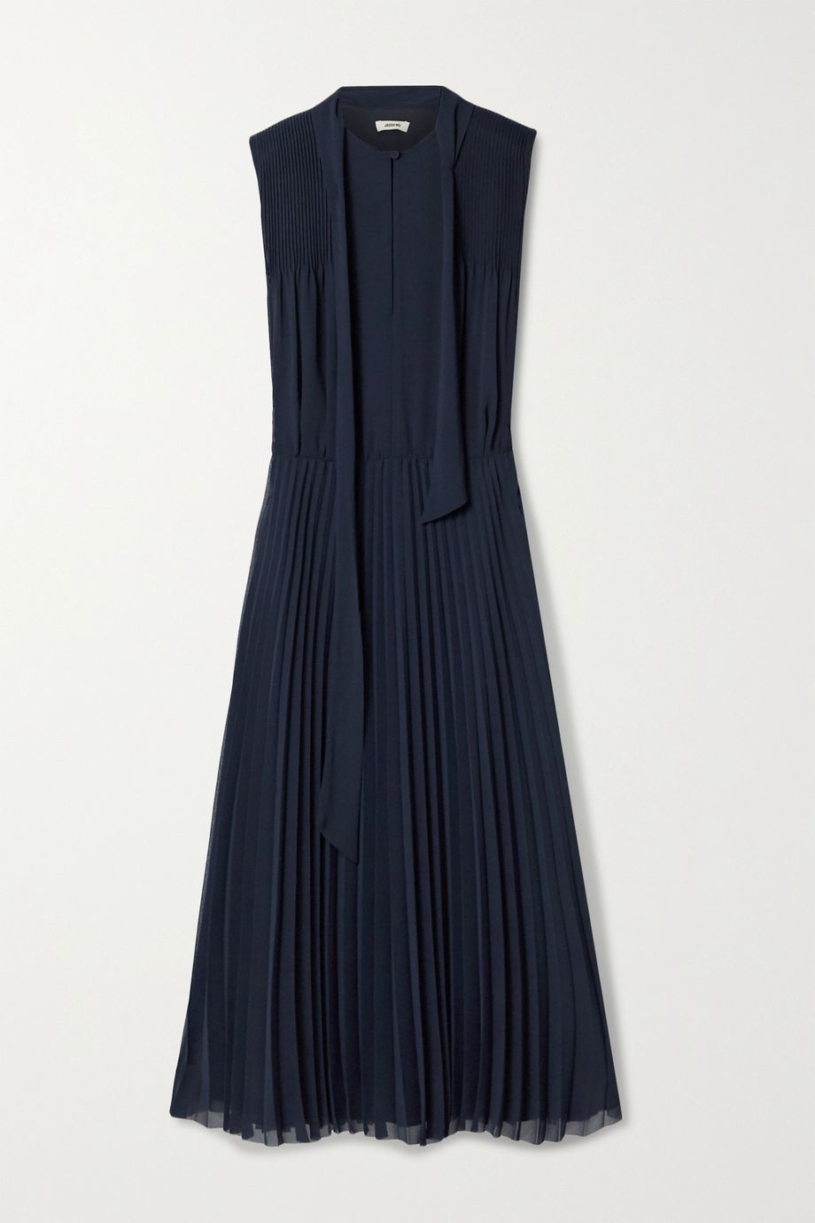 Jason Wu Tie-neck pleated crepe de chine midi dress
