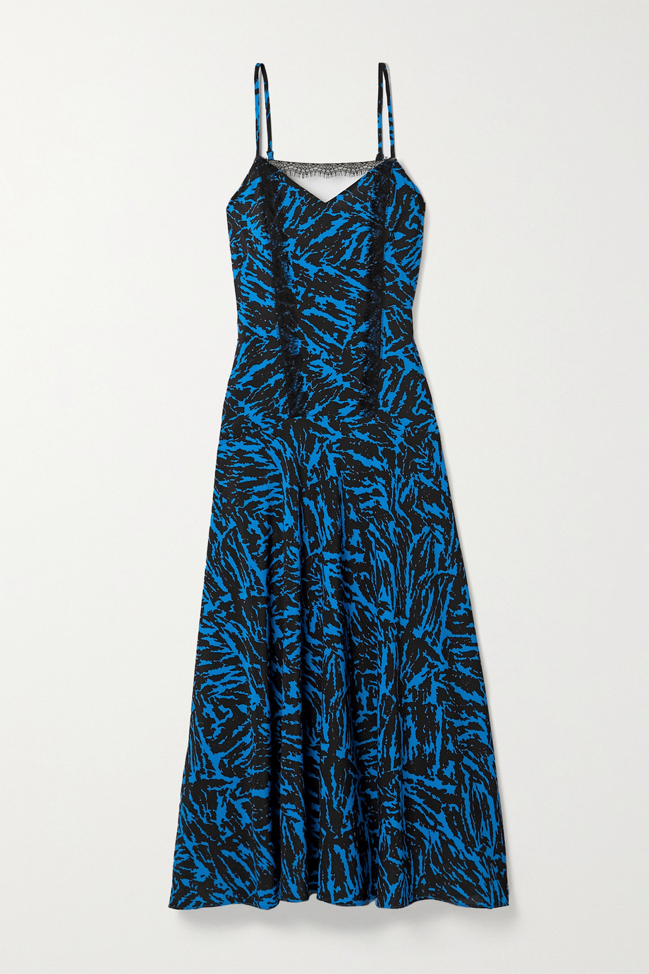 Jason Wu Pleated lace-trimmed zebra-print crepe midi dress