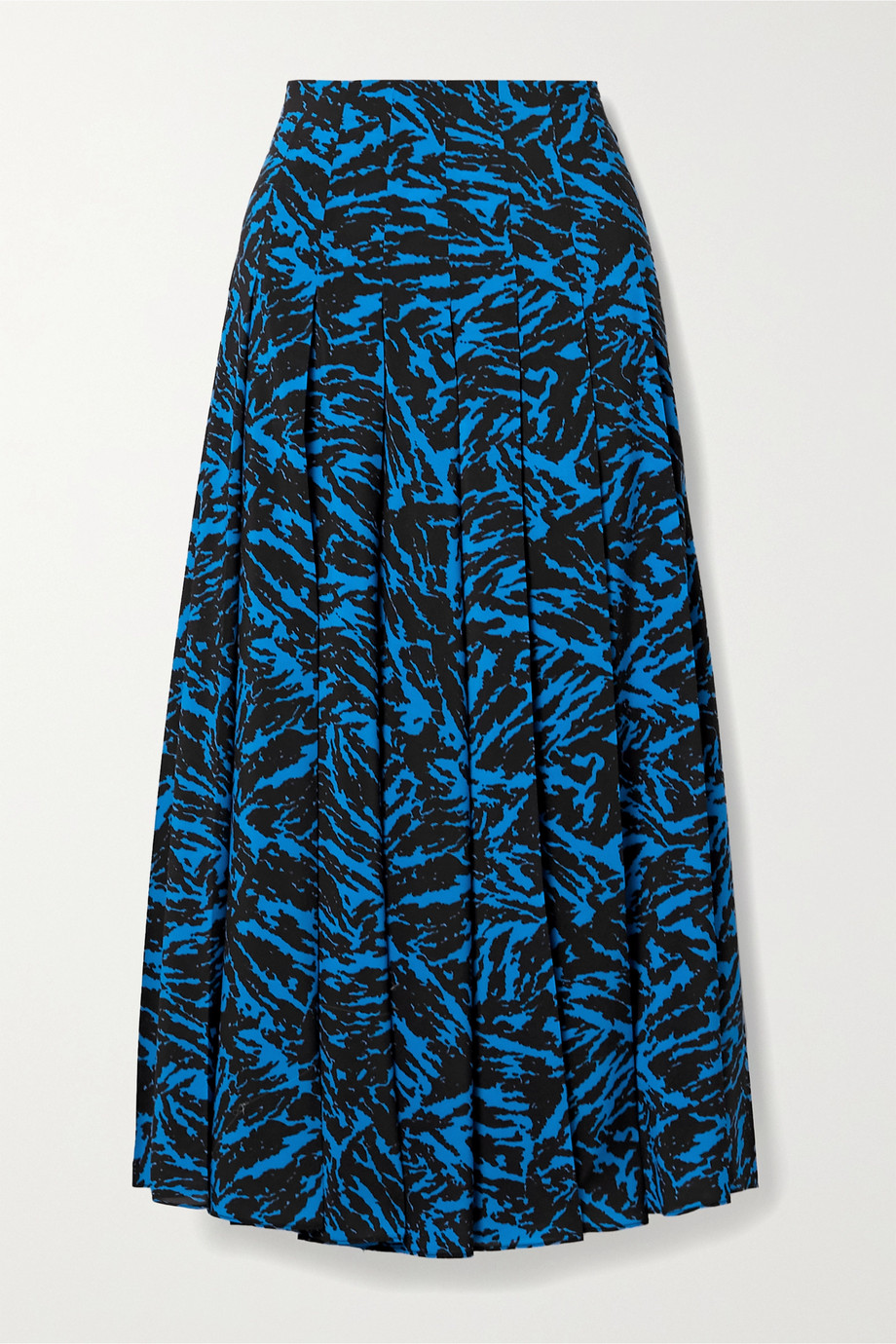 Jason Wu Pleated zebra-print crepe midi skirt