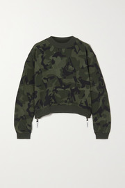 AARMY Love zip-detailed camouflage-print cotton-jersey sweatshirt