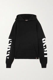 AARMY Layered printed cotton-jersey hoodie